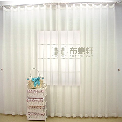 Sheer Linen Curtain Panels White Voile Curtain Panel Tie Up 78 By 106 Inch with Plastic Hook