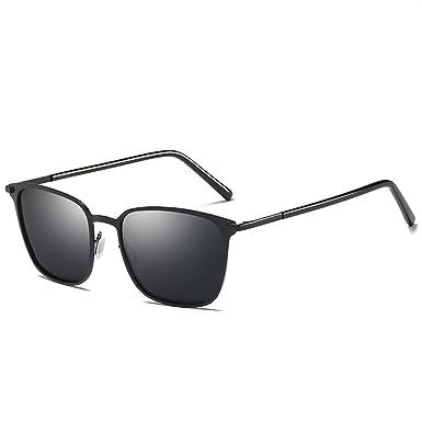 701cdbb34d LUOMON Riding Polarized Sunglasses for Men Metal Black Frame Grey Lens  Classic Glasses LM0864