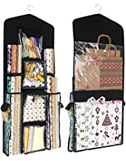 SumDirect 16x40 Inch Double Sided Hanging Gift Wrap Organizer, Wrapping Paper Gift Bag Storage (Black)