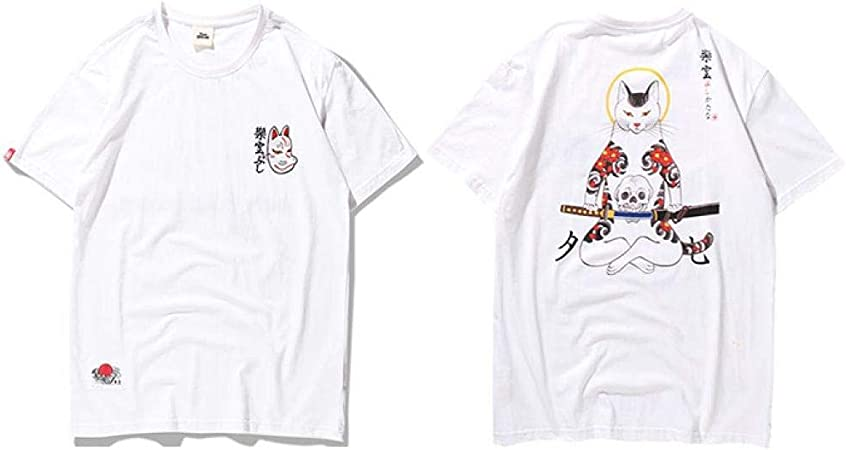 DMUEZW Hombres Harajuku Camiseta Japonesa Ninja Cat Skull ...