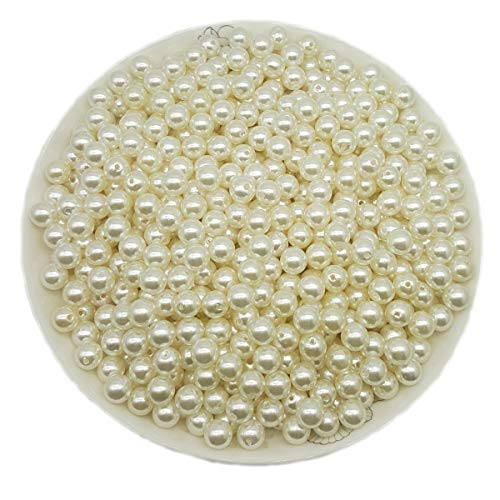 AiFanS Pearl Beads,10mm Pearl Beads,Faux Pearl Beads for Vase Fillers or Jewelry Making,Ivory (1LB 900Pcs)