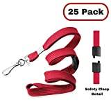 "MIFFLIN Flat Breakaway Safety Lanyards (Liberty Red, 25 Pack), Bulk Set, Packaged Neatly, Swivel J-Hook, 36"", Comfortable Woven Neck Strap, for School Field Trips, Work, Company, Cruise, Kids"