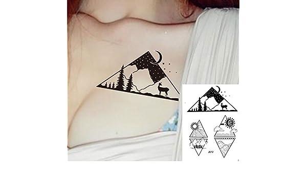 Líneas Tatuajes grafische Tatuajes Montañas sol luna Fake Tatuajes ...