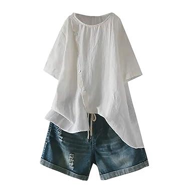 b6a87c04c5af6 Holywin Top T-Shirt Ample en Coton et Lin à Manches Courtes avec Boutons  pour Femmes Chemisier: Amazon.fr: Vêtements et accessoires