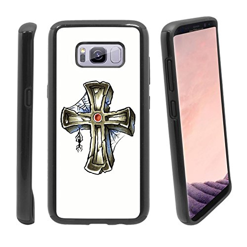 [Gravestone and Spider] for Samsung Galaxy S8+ Plus Hybrid Heavy Duty Armor Shockproof Silicone Cover Rugged case ()