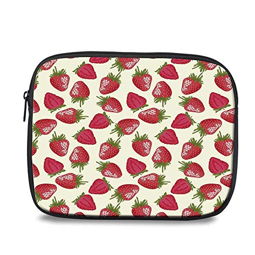 (Fruits Durable iPad Bag,Strawberries Vivid Growth Plant Vitamin Organic Diet Refreshing Image Decorative for iPad,10.6