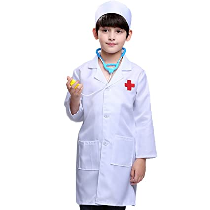 c48496fff7538 Inditake Fancy Dress Doctor Costume,Pretend Play Little Nurse Doctor  Professional Role Playing Costume for