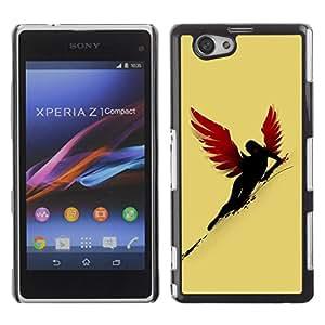 Be Good Phone Accessory // Dura Cáscara cubierta Protectora Caso Carcasa Funda de Protección para Sony Xperia Z1 Compact D5503 // Sexy Red Wing Angel