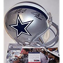 Emmitt Smith & Troy Aikman Autographed Hand Signed Dallas Cowboys Full Size Authentic Football Helmet - with Hall of Fame Inscriptions - PSA/DNA
