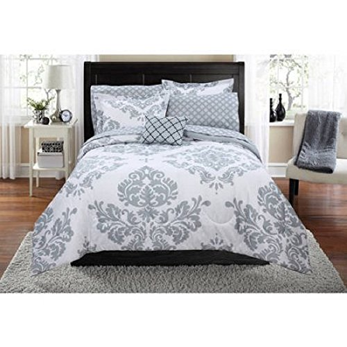 Contemporary Damask Pattern Classic Noir Bed In A Bag Bedding Set (Full, Gray)