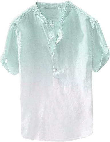 Aiserkly - Camisa de Verano para Hombre, Transpirable, Fina, Transpirable, cómoda para Colgar, de algodón Degradado, Ligera, Azul, Naranja, Verde, ...