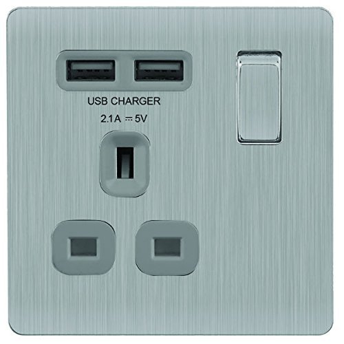 BG Electrical Masterplug 13amp Brushed Steel Double Sockets with 2 x USB Char...