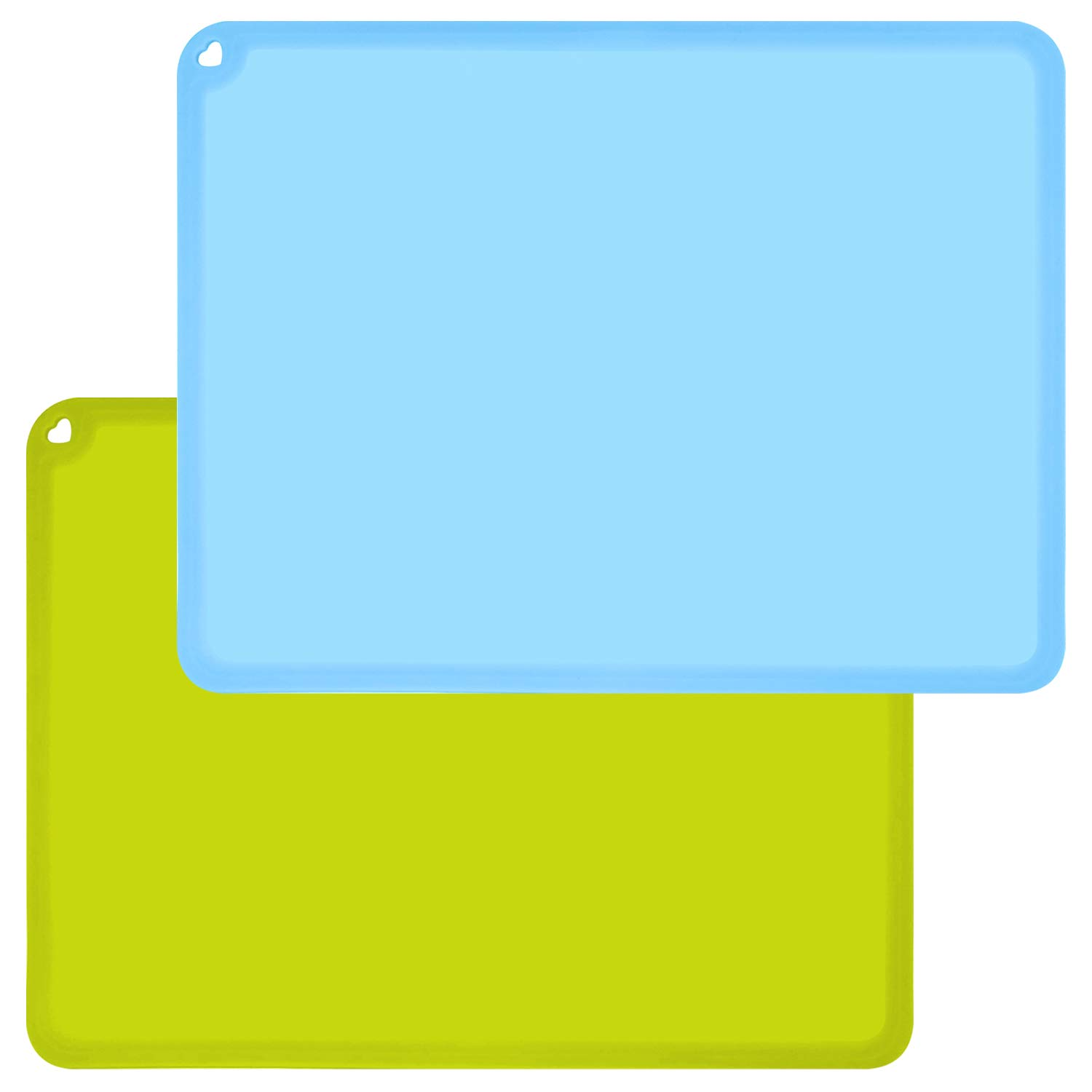 Silicone Kids Placemats, Non-Slip Placemats for Kids Baby Toddlers Table Mats, Children's Dining Food Mats, 2Pack, Baby Blue/Green