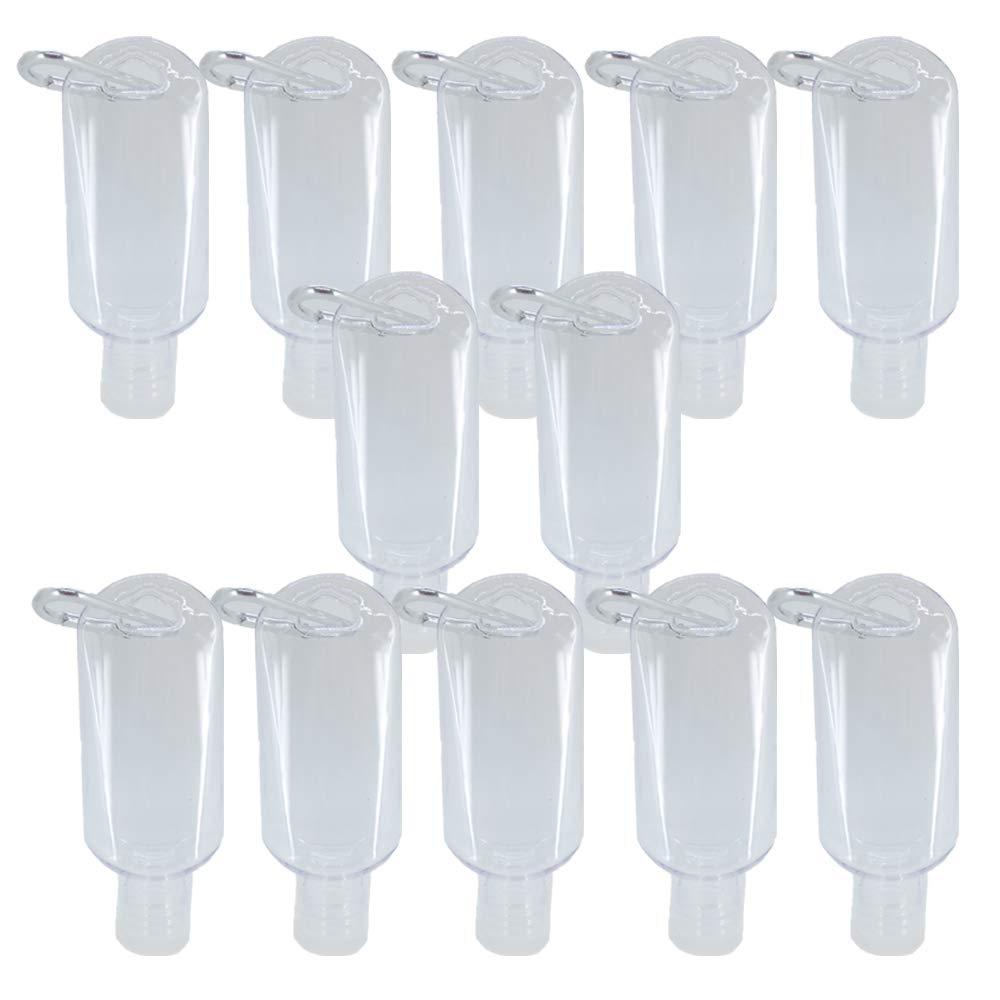 JADEWELL 12 Pack Plastic Keychain Hand Sanitizer Bottles 2oz Mini Reusable Travel Bottle for Dispensing Lotions Shampoos Disinfectant