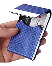 DMFLY Business Card Holder, PU Leather Business Card Case, Metal Pocket Card Holder, Slim Name Card Holder for Women and Men, Magnetic Shut, Hold Up to 25 Business Cards, Blue