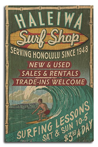 Haleiwa, Hawaii - Surf Shop Vintage Sign (Honolulu Version) (10x15 Wood Wall Sign, Wall Decor Ready to - Honolulu Shop
