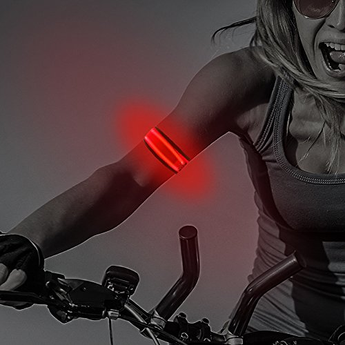 LEBOLIKE Cool LED Slap Armband Reflective Belt Wrist/Ankle Glow Band for Night Safety Cycling Jogging - 2 Pack