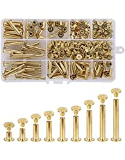 """Witlans Chicago Screws Kit,100 Sets 3/16"""" Golden Slotted Phillips Head Binding Screws Assorted Kit for Book Binding Scrapbook Photo Albums Leather DIY Craft(9 Sizes)"""