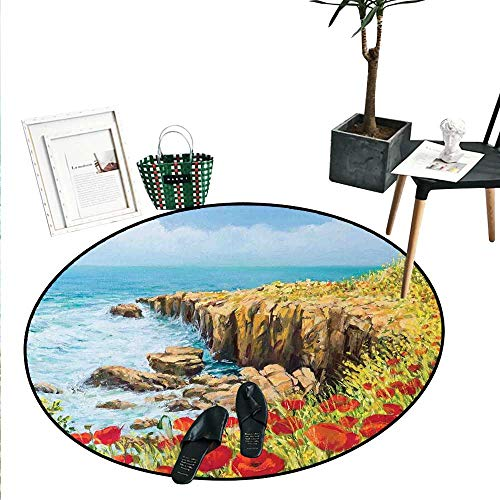 Flower Home Decor Area Rug Coastal Seascape and Poppies on The Cliffs High Above The Bay Image Print Perfect for Any Room, Floor Carpet (4' Diameter) Red Peach Dark Green