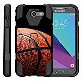 TurtleArmor | Compatible with Samsung Galaxy J3 Emerge Case | J3 (2017) [Dynamic Shell] Dual Hybrid Hard Impact Cover Kickstand Sports and Games - Basketball Seams