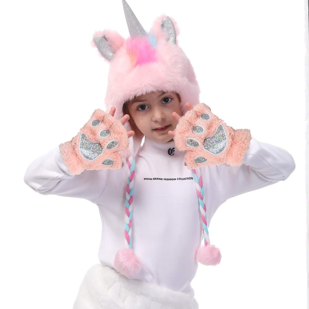 premio Halloween y para la fotograf/ía de Beanie Cosplay Rosa Sombreros con capucha de piel sint/ética de unicornio para ni/ñas con guantes Bolsas de regalo como cumplea/ños