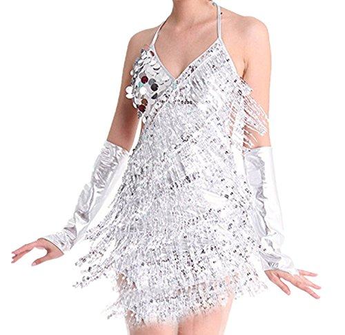Fairycece 1920 Flapper Dresses for Women Silver Ballroom Dresses for Women Sequin Costumes