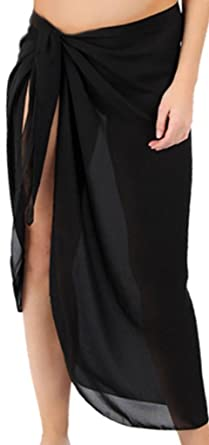 "df03f773bf03c Sanctuarie Women's Sheer Black Plus Size Sarong Pareo Coverup  Coverup/6x/33"""