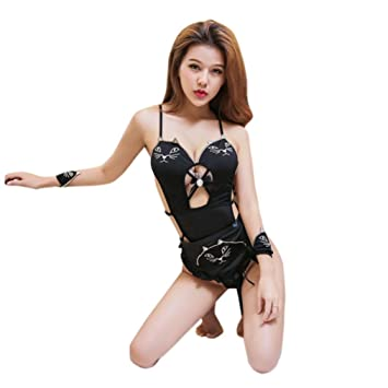 ef1c8f336fc21 FORH Women s Sexy Lingerie Set Cute Cat Pattern Embroidery Tassels Tail  Anime Uniform Cosplay Halter Lingerie
