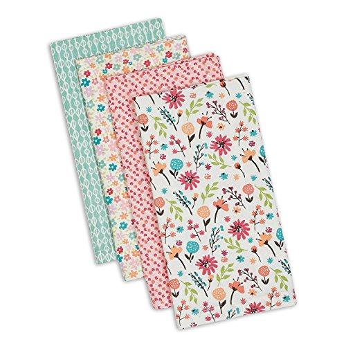 DII Design Imports Spring Floral Garden Party Napkins Set of 4 Cottage Chic