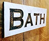"""Bath carved sign at 24""""x10"""" Horizontal-Cypress Board Rustic Distressed Shabby Style Decor"""