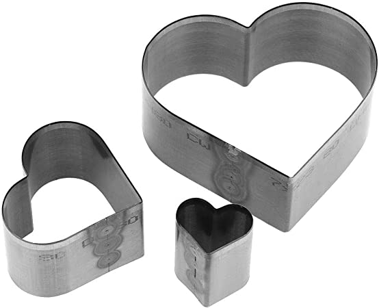 Heart Shape 3Pcs Different Size Hole Hollow Punch Tool Kits with Heart Pentagon Shape and Water Drop Style for Leather Polymer Clay Jewelry Kitchen Supplies