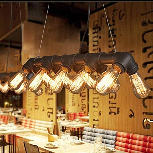 DGHJK Light Fixtures Vintage Pendant Light Industrial Ceiling Light Steampunk Lamp Black Retro Metal Water Pipe Edison 10 Lights Chandelier Copper Finish