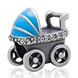 Solid 925 Sterling Silver ''Blue Baby Carriage w/ White CZ'' Charm Bead 3152 for European Snake Chain Bracelets