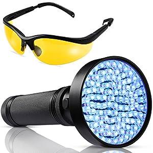 UV Black light Flashlight - 100 LED UV Blacklight - Powerful 390-400NM Pet Urine Flashlight Detector - with UV Sunglasses Professional Detector for Dogs Pets Urine Carpet Stains, Scorpions, Bed Bugs