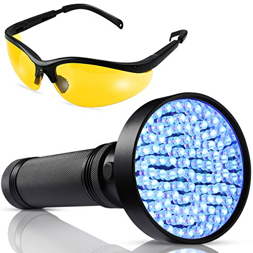 UV Black light Flashlight - 100 LED UV Blacklight - Powerful 390-400NM Pet Urine Flashlight Detector - with UV Sunglasses Professional Detector for Dogs Pets Urine Carpet Stains, Scorpions, Bed - Sunglass Components