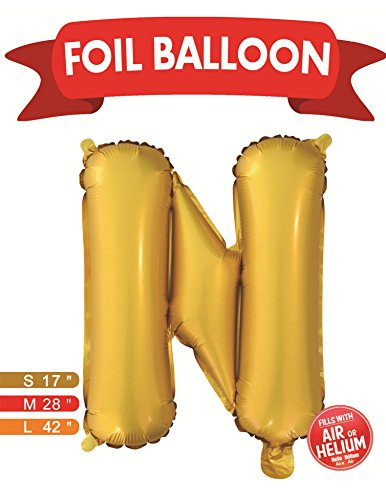 Letter Balloons N (42 INCH) Large Alphabet Letters Balloon Gold Aluminum Foil Film Balloons for Independence Day Wedding Birthday Bridal Shower Celebration Party Home Decoration (A-Z) - Ban Chart