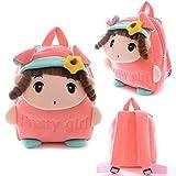 Gloveleya Kid's Angela Girl Cartoon Plush Backpack School Shoulder Bags Pink 10'' for Kids Under 5 Years Old