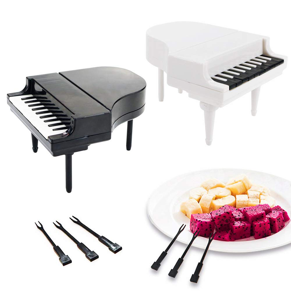 Wpxmer 2 Set Fruit Fork Piano Design Cake Fork Small Tableware for Children and Adults(Black and White)