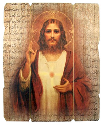 Laser Cut Wood Sacred Heart of Jesus Icon Wall Plaque, 9 1/4 Inch ()
