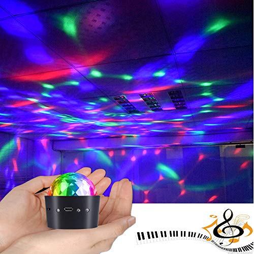 Mini Disco Ball Light Battery Operated, YSSHUI Sound Activated Multi-coloured Disco Ball Light,Car Decoration Light,Led Stage Light,Christmas Lights,Party Light(Portable & Battery Powered) - Coloured Star Multi