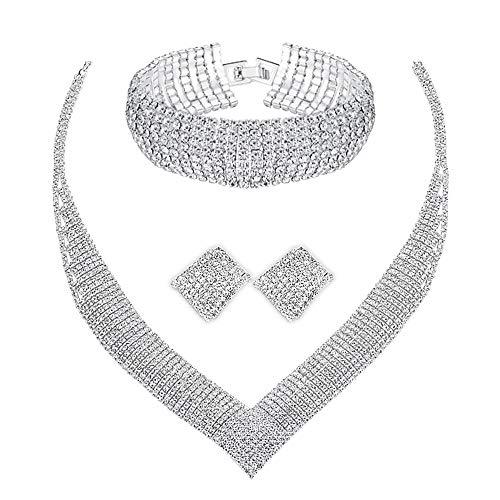 mecresh Bridal Austrian Crystal Rhinestone Necklace and Earrings Bracelet Wedding Bridal Jewelry Set (B-Necklace Earrings Bracelet Set)