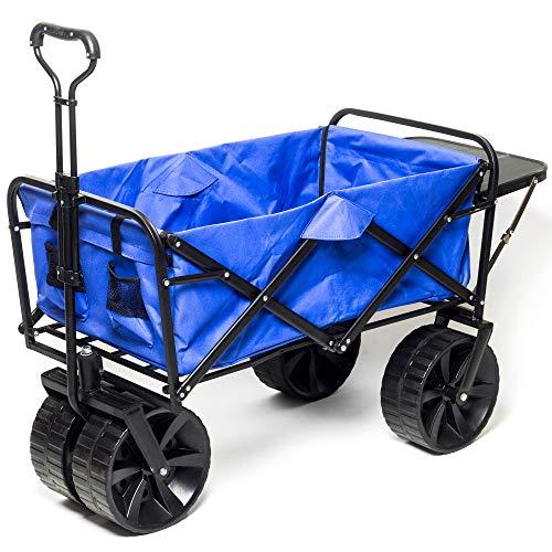 (Collapsible Wagon Beach Cart, All-Terrain Wagon Foldable Cart Beach Wagon with Big Wheels for Sand, Garden Push Wagon, Shopping Cart for Groceries)