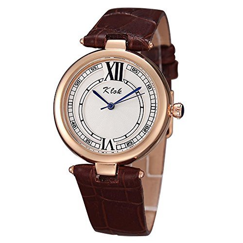 Klok Coffee Cow Leather Rose Gold Plated Quartz Watches for Girls