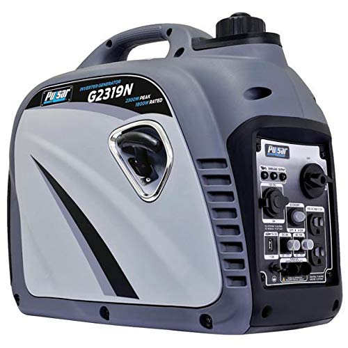 Pulsar G2319N 2,300W Portable Gas-Powered Quiet Inverter Generator with USB Outlet & Parallel Capability Carb Compliant, 2300w Gray, by Pulsar