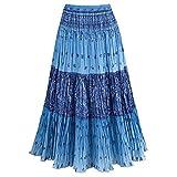 CATALOG CLASSICS Women's Sky Blue Maxi Skirt - Peasant Crinkle Broom Style Skirt - 2X