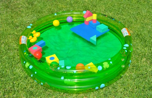 Sale: Green Inflatable Pool w/ Development Non-Toxic Floating Blocks and Mesh Tote, Baby & Kids Zone