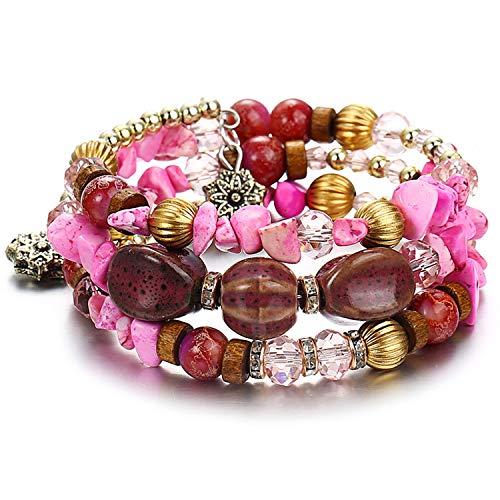 Attrastores Bohemian Stone Beads Bracelets for Women Vintage Crystal Tibetan Ethnic Beaded Wrap Charm Bracelet Bangle Jewelry 2019 New,BJDY56712