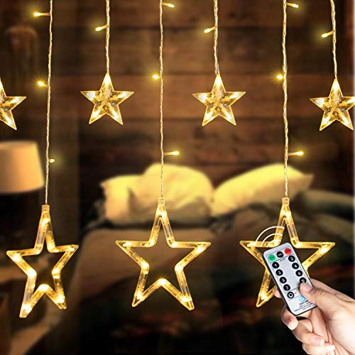 Brightown 138 LED 12 Stars Window Curtain String Lights with Remote and Timer, Connectable 8 Flashing Modes Decoration lights for indoor/outdoor, Christmas, Wedding, Party, Patio Lawn, Warm White (Lights Star Battery Led Operated)
