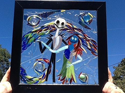 Jack and Sally Skellington Stained Glass Window Art Sun Catcher by Mountain Mosaics (Image #4)