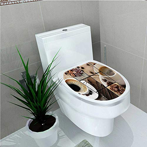 Bathroom Toilet seat Sticker Decal Themed Collage Close Up Mugs Beans on Wooden Table Aromatic Roasted Espresso Drink W8 x -